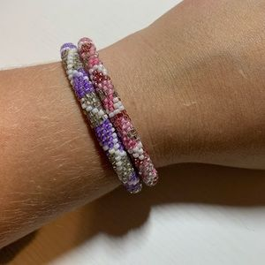Lily and Laura pink and purple bracelet set